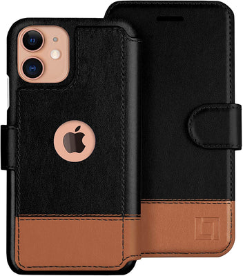 iPhone 12/12 Pro and 12 Pro Max Wallet Case -2 Tone Vegan Leather
