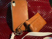 Brown Leather iPhone Silicone Case with Lanyard