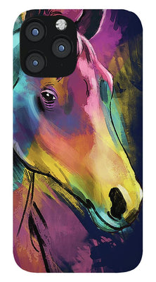 Horse in Abstract Colors Slim iPhone Case with Lanyard