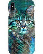 Cat in Teal Paisley iPhone Silicone Slim Case with Lanyard