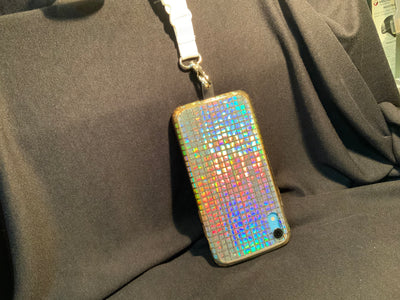 Bling Iridescent Silver Squares iPhone Silicone Case with Lanyard