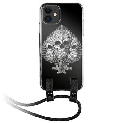 Skull Ace of Spade iPhone Silicone Case with Leather Lanyard