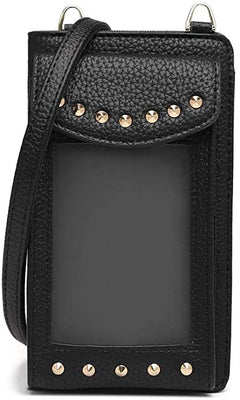 Studded Cell Phone Vegan Leather Wallet Crossbody Bag