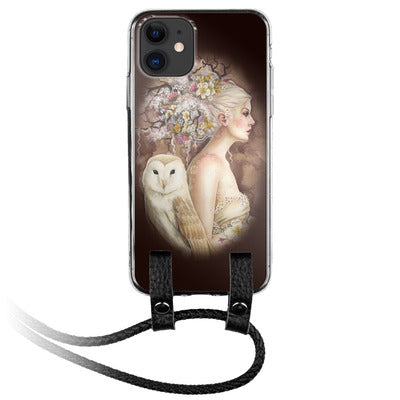 White Owl and Girl iPhone Silicone Case with Leather Lanyard