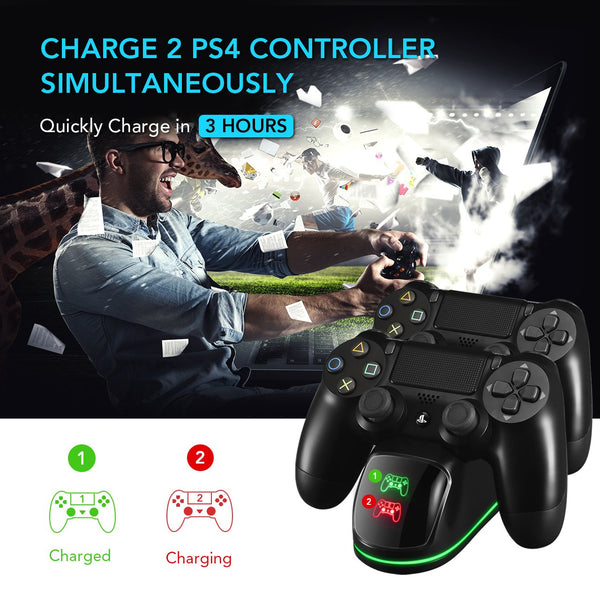 PS4 Controller Charger, PICTEK Dual USB Charging Dock, Fast Charging with LED Indicator and Overcharging Protection for PS4/ PS4 Pro/ PS4 Slim Controllers (Black)