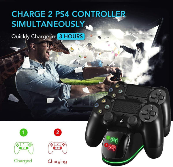 PS4 Controller Charger, PICTEK Dual USB Charging Dock, Fast Charging with LED Indicator and Overcharging Protection, for PS4/ PS4 Pro/ PS4 Slim Controllers