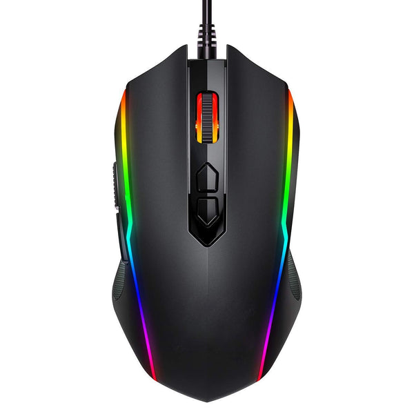 PICTEK Raton Gaming, 8 Botón Programable, Ratón Gamer RGB con Cable USB