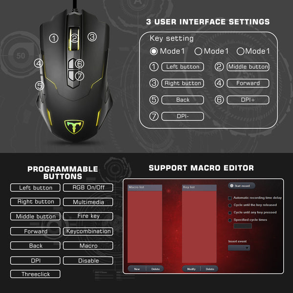 PICTEK Gaming Mouse Wired, Programmable, Ergonomic