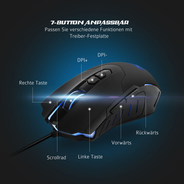 PICTEK Mouse & Mouse Pad Combo, Black