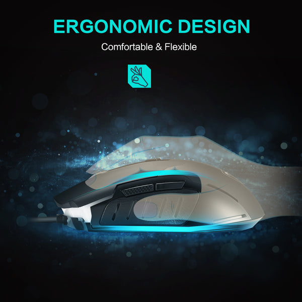 PICTEK Gaming Mouse, Entry-level Ergonomic Optical Computer Mouse