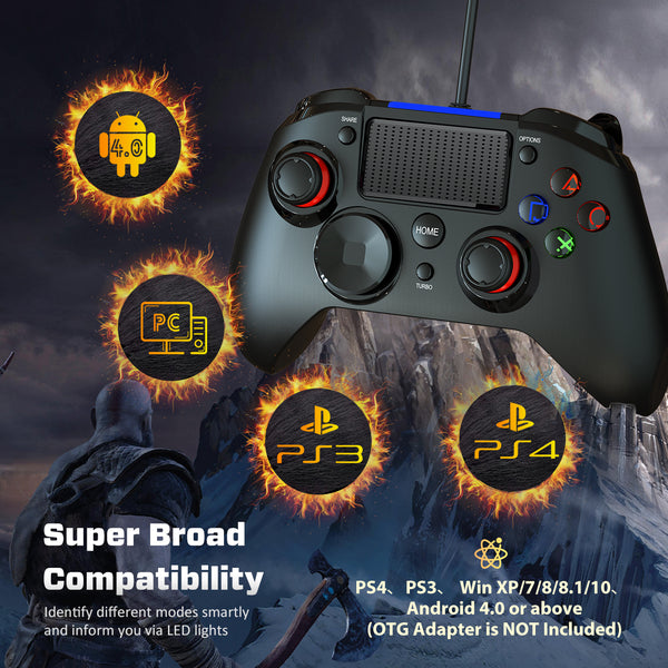 PICTEK PS4 Controller, 3-in-1 Wired Gaming Controller