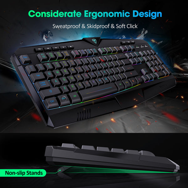 PICTEK RGB Gaming Keyboard USB Wired Keyboard