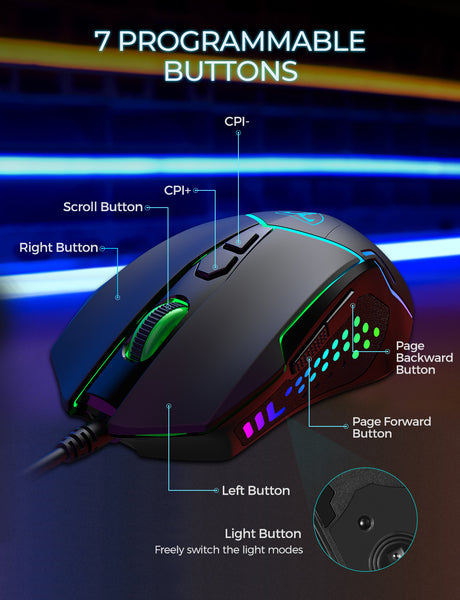 PICTEK 7 Programmable Buttons, RGB Backlit Breathing Light Professional Ergonomic Mice