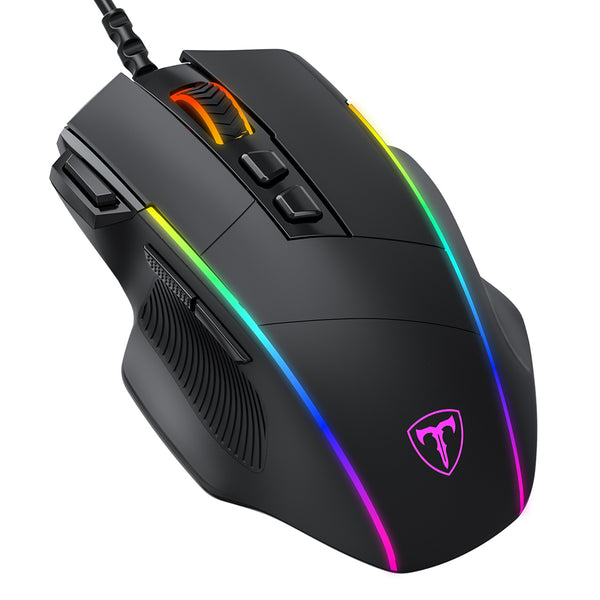 Gaming Mouse, PICTEK Programmable Mouse with Side Buttons, Adjustable RGB Lighting Modes and DPI Levels, Ergonomic Gaming Mice for Computer, Laptop, Windows, Apple