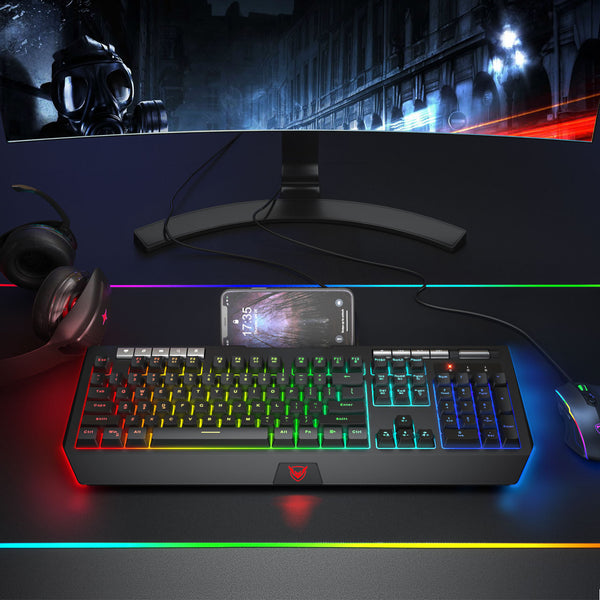 PICTEK RGB Gaming Keyboard with Phone Holder, Volume Wheel