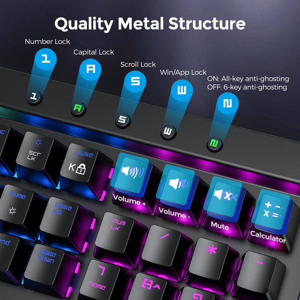 PICTEK Mechanical Gaming Keyboard - With Detachable Wrist Rest