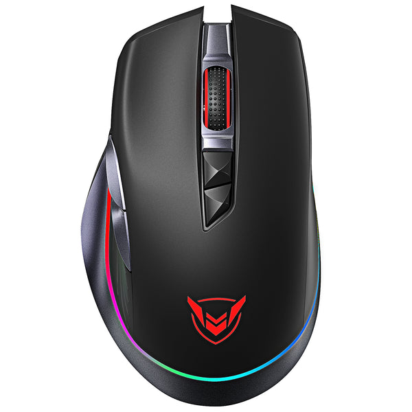 PICTEK Rechargeable Wireless Gaming Mouse, RGB Wireless Gaming Mouse, [10000DPI] [PMW3325] [1000HZ Polling Rate], Ergonomic Mouse, 8 Programmable Buttons, Type C Wired Mouse for Windows PC Gamer