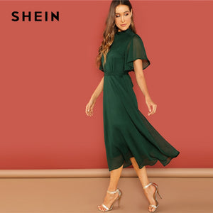 a3d4cfac8cf9 SHEIN Weekend Casual Green Flutter Sleeve Short Sleeve Split Tie Back Solid  Stand Collar Dress Women Autumn Elegant Dress