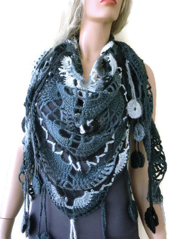 Twilight Bohemian crochet scarf-Black Charcoal Gray Super lacy Crochet scarf with fringes-Silk and mohair-Handmade