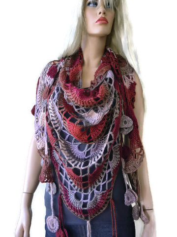 Earthbound Bohemian crochet scarf-multicolor Super lacy Crochet scarf with fringes