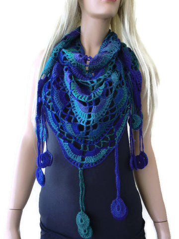 dark ocean colors crochet shawl with fringes