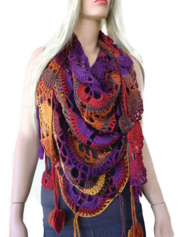 Harvest Moon scarf- Bohemian crochet scarf-Multi color Crochet lace scarf with fringes