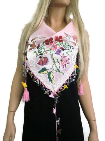 pale pink vintage art scarf with vintage embroidery and laces