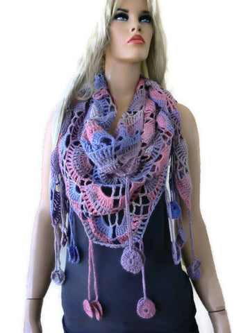 Serenity Bohemian crochet scarf- Subdued pink, lavender and beiges-with fringes