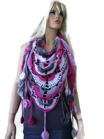 Myra scarf-Pink gray and white-Boho scarf-Crochet lace scarf with fringes-Handmade boho scarf