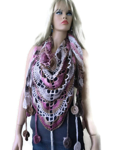 Elegance-Bohemian crochet scarf/shawl- Soft settled pinks,taupe and browns