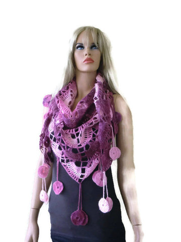 Pink and plum-Bohemian scarf with fringes, Shades of pink Crochet lace scarf