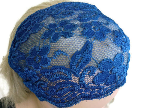 Midnight blue wide lace headband,handmade by Textilemonster