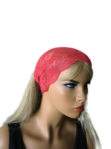 watermelon red stretch lace headband