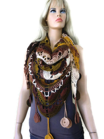 Fall colors-Amber scarf- Bohemian crochet scarf-Amber,olive chocolate and beige