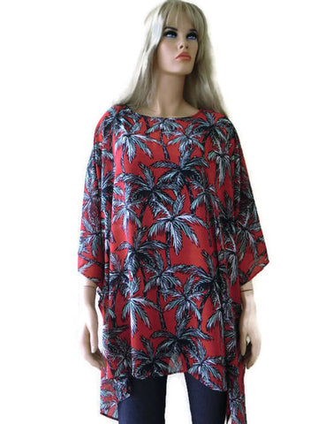 oversize palm tree tunic, red and black