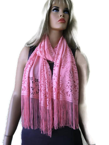 Soft Coral lace scarf shawl- Lace fringe scarf-Coral pink lace shawl