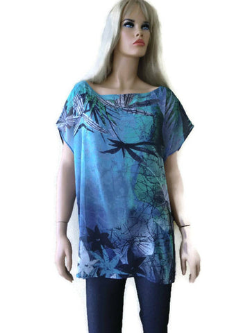 Blue green Chiffon shell , Large to XL-Loose relaxed fitting-