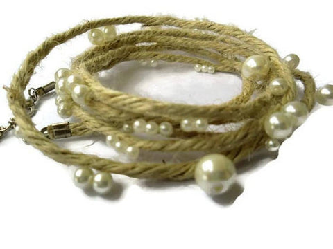 Multi strand Eco wrap-Natural jute bracelet with glass pearls-Bohemian wedding