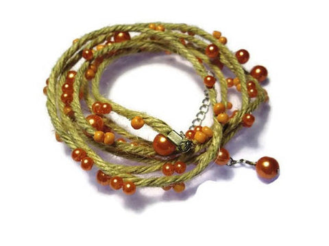 Salmon Multi strand Eco wrap-Natural jute bracelet with pearls