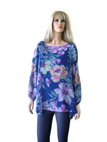 Ink Blue Bold floral print oversize tunic Oversize woman top/ Chiffon summer top 2-3X
