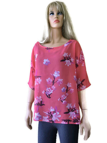 Coral floral chiffon summer top-Loose fitting- -Spring summer collection-Size Large