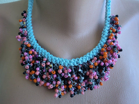 Seeds of Love Boho necklace Light Blue , pink orange plum multicolored