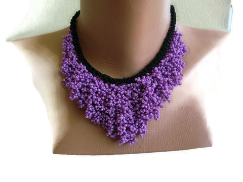 Lilac Seeds of Love Boho necklace -Hand crocheted