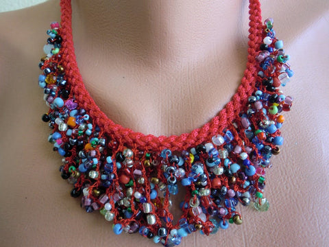 Boho necklace red multicolored necklace-Hand crocheted