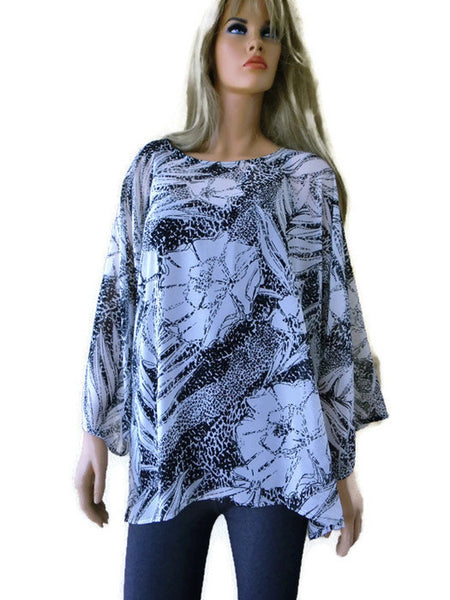 Black and white floral tunic ,chiffon collection, Oversize / Tunic,with wide sleeves,-L-XL