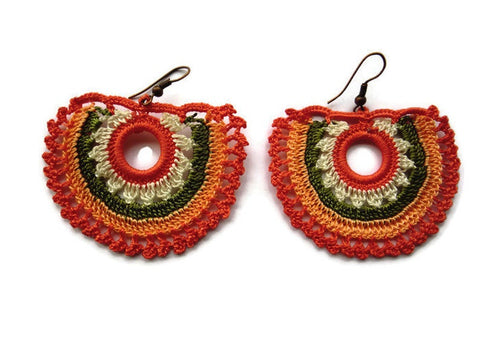 Bohemian crochet earrings, Shades of Coral, Moss green,white