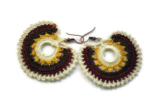 Bohemian crochet earrings, Bordeaux, mauve mustard gold and ivory