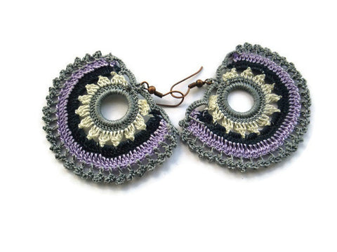 Bohemian earrings, crochet earrings, Gray, lilac lavender,white
