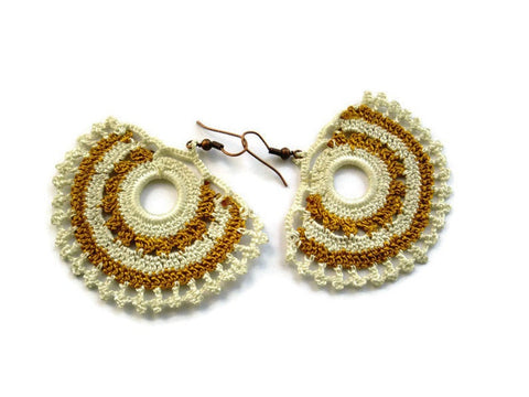 Bohemian earrings, crochet earrings, Ivory and mustard gold
