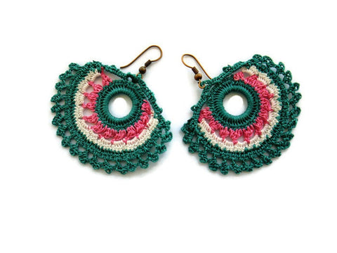 Bohemian earrings, crochet earrings, Teal green white and pink-